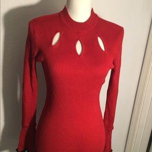 Candies peek a boo red long sleeve sweater-M